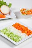 Sellerie, Karotten, Zwiebel und Gemüse Stockfotografie