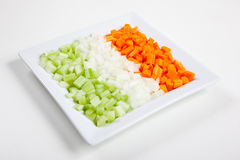 Sellerie, Karotten, Zwiebel und Gemüse Stockbilder