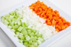 Sellerie, Karotten, Zwiebel und Gemüse Stockfotos