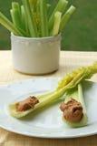 Sellerie-Steuerknüppel mit Erdnussbutter Stockfotografie