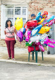 Sellers of balloons at the Nestinarski Games in Bulgaria