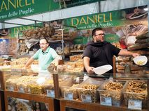 Sellers of bread and sweets typical of the Puglia region, southe. Rn Italy. In the picture you can see various sweets and biscuits that are cooked in the region royalty free stock photography