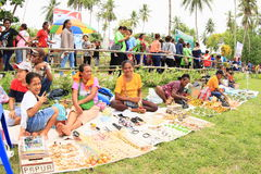 Sellers on Mansinam. Sellers of souvenirs on Christian celebration of arrival of first missionaries Ottow and Geissler on island Mansinam - Papua Barat royalty free stock image