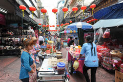 Sellers at the market of Chinatown on Bangkok Stock Photo