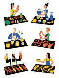 Sellers on marketplace, cartoon characters. Seasonal outdoor market, street food festival. Vector flat illustration, isolated on vector illustration