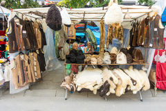 Sellers national leather and fur garments on the streets of the city of Leskovac in Serbia Stock Photos