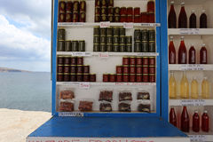 Sellers stand, Santorini, Greece Royalty Free Stock Photography