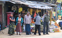 Sellers in street shop sell fresh fruits in Sri Lanka Stock Images