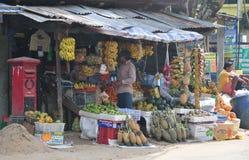 Sellers in street shop sell fresh fruits in Sri Lanka Stock Photo