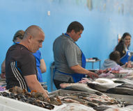 Sellers trade fish in the food market Stock Photography