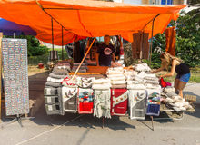 Sellers wool on the main street in Leskovac, Serbia Royalty Free Stock Photography