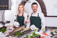 Sellers working in fish store. Middle age seller and assistant working in fish store Royalty Free Stock Photo