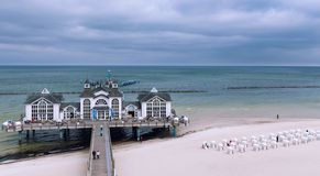 Sellin, Germany.  A historic pier in a seaside town on the island of Rügen.  Baltic coast.  May 2019. Sellin in Germany.  A historic pier in a seaside town on stock images