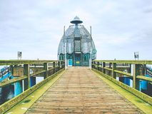 Sellin, Germany - January 27th 2018. Historical pier. With diving gondola. A famous tourist attraction on the island of Ruegen royalty free stock photography