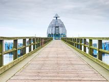 Sellin, Germany - January 27th 2018. Historical pier. With diving gondola. A famous tourist attraction on the island of Ruegen stock photography