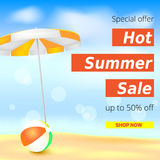 Selling ad banner, vintage text design. Fifty percent summer hot discounts, The sandy beach background with sun umbrella. And inflatable ball. Template for Royalty Free Stock Photography