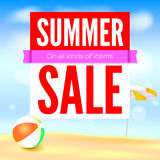 Selling ad banner, vintage text design. Fifty percent summer hot discounts, The sandy beach background with sun umbrella. And inflatable ball. Template for Stock Images