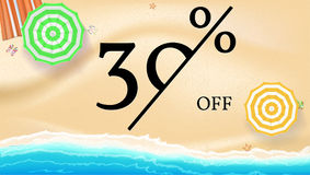Selling ad banner, vintage text design. Fifty percent summer vacation discounts, sale background of the sandy beach and. The sea shore. Template for online Stock Image