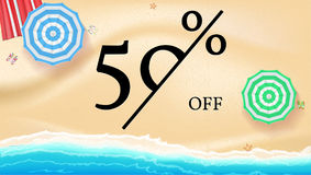 Selling ad banner, vintage text design. Fifty percent summer vacation discounts, sale background of the sandy beach and. The sea shore. Template for online Royalty Free Stock Images