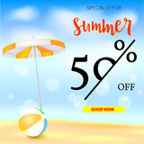 Selling ad banner, vintage text design. Fifty percent summer vacation discounts, The sandy beach background with sun. Umbrella and bouncy ball. Template for Royalty Free Stock Photos