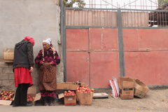 Selling apples in the streets Royalty Free Stock Photos