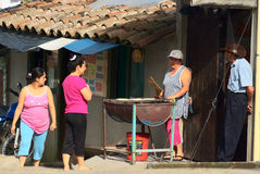 Selling Arepa in Salento, Colombia Royalty Free Stock Images