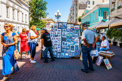 Selling art in Arbat street of Moscow, Russia Royalty Free Stock Image