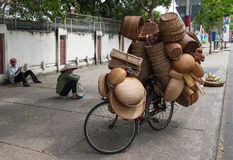 Selling baskets in Vietnam Stock Photo