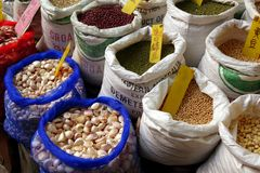 Selling Beans, Nuts and Grains Royalty Free Stock Photography