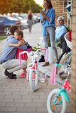 Selling bicycle - Happy girl have a new bike. Selling bicycle - Happy little girl have a new bike royalty free stock images