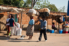 Selling bread in the African market Royalty Free Stock Photography