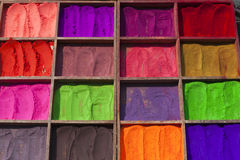 Selling bright colours in Nepal Stock Photography