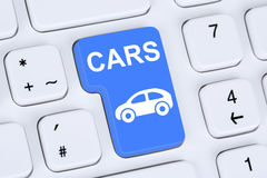 Selling or buying a car online button on the computer Royalty Free Stock Image