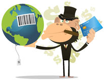 Selling And Buying Earth. Illustration of a funny cartoon gorilla businessman crook buying and selling earth with credit card Stock Photo