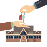 Selling and buying house real estate vector business concept with hands home key. Selling and buying house real estate vector business concept with hands and Stock Photos