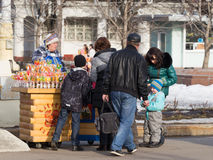 Selling candies at the Exhibition Center Royalty Free Stock Image