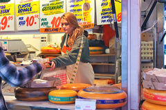 Selling cheese on the market in Delft, Netherlands Royalty Free Stock Photo