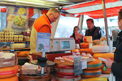 Selling cheese on the market in Delft, Netherlands Royalty Free Stock Image