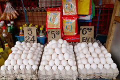 Selling chicken eggs at the local market Royalty Free Stock Photos