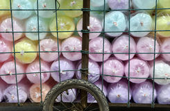 Selling cotton candy, colorful Stock Photos