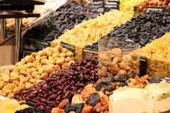 Selling dried fruits market royalty free stock photo