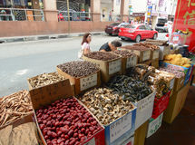 Selling dried herbal and dried food at Chinatown Stock Photo