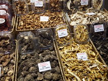 Selling dried mushrooms. Dried mushrooms at the market Stock Images
