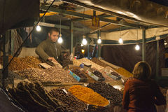 Selling dried nuts in Marrakesh main square Stock Photography