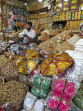 Selling dry fruits. A salesman is selling dry fruit in Karachi, Sindh, Pakistan Stock Photo