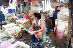 Selling fish in the seafood market of middle-aged women. In July 1st, 2013, Shenzhen Xixiang seafood market, a middle-aged woman selling fish royalty free stock photography