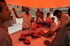 Selling fish in Yemen Stock Photo