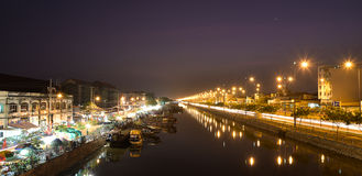 Selling flowers on Binh ferry at night, Ho Chi Minh City, Vietnam Royalty Free Stock Image