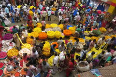 Selling flowers at KR market in Bangalore. Royalty Free Stock Images