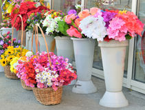Selling flowers on the street Royalty Free Stock Photo